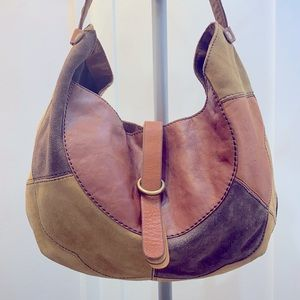 🍀Lucky brand leather suede multicolor large hobo
